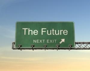 A green road sign with the word future. It is difficult to predict how important the block chain technology will be in the future. Uitleg blockchain. Een groen wegwijzerbord met het woord de toekomst in het Engels. Het is moeilijk te voorspellen hoe belangrijk de blockchain technologie in de toekomst zal zijn.