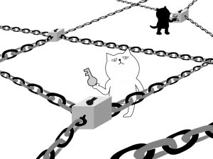 Illustration of block chain technology. Blocks and chains are connected. Two cats have the right key, for the right block. Uitleg blockchain. Een illustratie van de blockchain technologie. Blokjes verbonden met kettingen. Twee katten hebben de juiste sleutel.