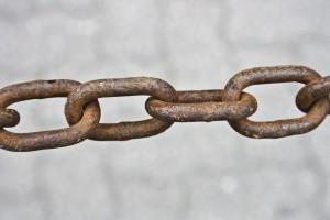 A chain. representing the chain of the block chain technology. Uitleg blockchain. Een ketting die de chain van de blockchain technologie illustreert.
