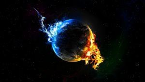De aarde staat in brand. Klimaatverandering.