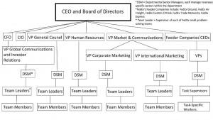 Organization structure of a company. Organisatietructuur van een onderneming.