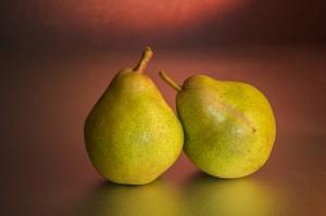 Two pears. This symbolizes a peer-to-peer network. Twee peren. Dit symboliseert een peer-to-peer netwerk. Privacy speelt ook een rol bij peer-to-peer netwerken.