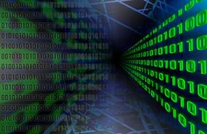 Data movement. This is an illustration of data movement with binary numbers. Uileg blockchain. Een illustratie van verplaatsing van data door binaire getallen, oftewel de enen en nullen.