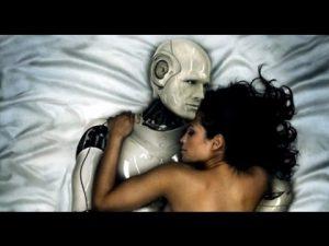 Robosexual. A Robot in bed with a woman. Een robot in bed met een dame.