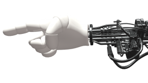 A robot hand pointing a finger. Singularity. Een robothand wijst met zijn wijsvinger. Singulariteit.