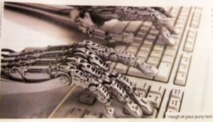 Robot hands using a computer keyboard. singularity. Robothanden op een toetsenbord. Singulariteit.