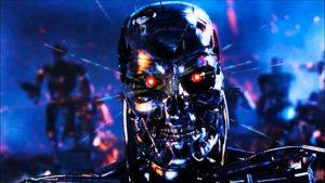 A angry robot with red eyes. Singularity. Een gevaarlijke robot met rode ogen. Singulariteit.