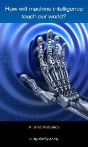 A robot hand. How will machine intelligence touch our world? This is a topic at the World Economic Forum. De hand van een robot. Hoe zal kunstmatige intelligentie onze wereld gaan beïnvloeden? Dit is een onderwerp op het World Economic Forum.