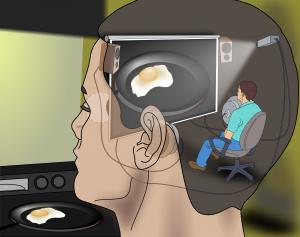 Visualising human thoughts. A man is thinking of a fried egg. Singularity. Het visualiseren van menselijke gedachten. Een man denkt aan een spiegelei. Singulariteit.