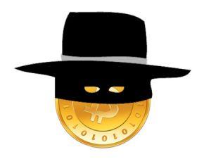 Bicoin and a masked man. Bitcoin en een gemaskerde man.