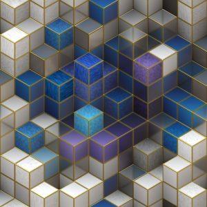 Blocks, symbolising the blockchain and smart contracts. Blokken die de blockchain en de slimme contracten symboliseren.