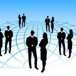 Business network. Silhouetten van zakenmensen in een netwerk.