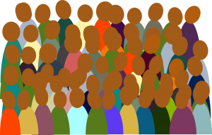 A group of people. Smart contracts and participants in the blockchain. Een groep mensen. Gebruikers van de blockchain en slimme contracten.