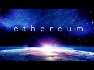 Ethereum written in the sky. Ethereum is a platform for smart contracts.  Ethereum geschreven in het heelal. Ethereum is een platform voor slimme contracten.