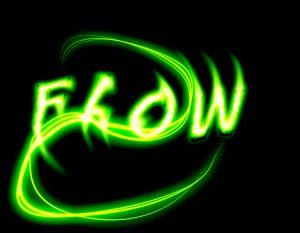 """The word flow in green letters. It is a good way to look at smart contracts as """"being a flow of value with rules and terms of conditions in it"""". Het woord flow in groene letters. Je zou slimme contracten eigenlijk moeten zien als """"een flow van waarde met regels en voorschriften die daarin zijn geïntegreerd""""."""