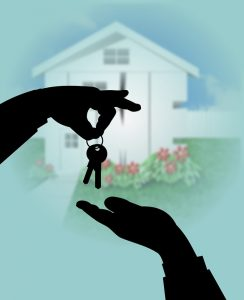 Handing over the keys. Buying a house. Making a smart contract on the blockchain. Het overdragen van de sleutels van het nieuwe huis. Slimme contracten en blockchaintechnologie.