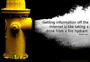 A hydrant sprying water. A text which says: Getting information off the internet is like taking a drink from a fire hydrant. Een brandkraan die water spuit. De tekst luidt: Het verkrijgen van informatie op het internet is als drinken uit een brandkraan.