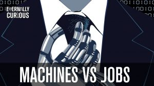 A robot straightens his tie. According to the World Economic Forum five million jobs will disappear over the next five years, because of robots and the fourth industrial revolution. Een robot doet zijn das recht. Volgens het World Economic Forum zullen er de komende vijf jaar vijf miljoen banen verdwijnen in verband met de robotisering en de vierde industriële revolutie.
