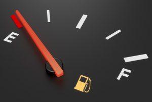 A gasmeter from a car symbolising fuel and Ether. Een bezinemeter van een auto. Het symboliseert brandstof en Ether.