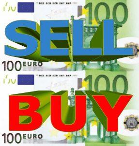 Two banknotes of hundred euro and the words sell and buy. Twee bankbiljetten van honderd euro en de woorden verkopen en kopen in het Engels.