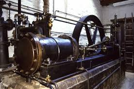 A steam engine. Een stoommachine.