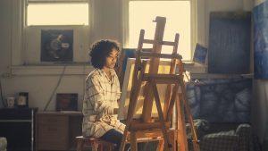 Een dame aan het schilderen, schilderij