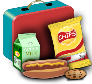Koffer, voedingsmiddelen, melk, chips, hot dog, koekje