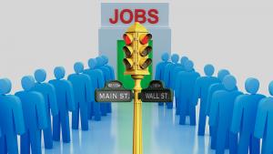Jobs, verkeerslicht, mensen in rijen.