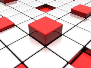 Rode blokken op een wit vlak. De blockchain.