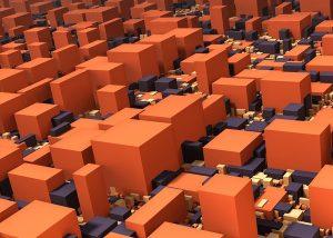 Rode en paarse blokken. Blockchain.