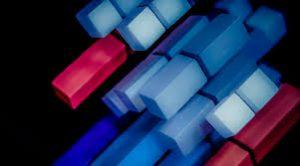 Rode en blauwe blokken