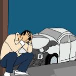 businessmodellen voor verzekeringen. Man met schade aan zijn auto.