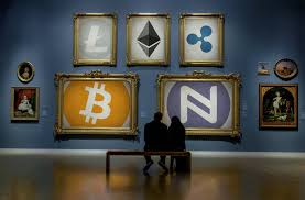 Cryptocurreny museum, verschillende cryptocurrency's.