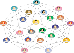 Mensen verbonden binnen een blockchainnetwerk