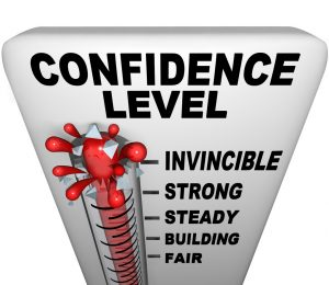 Confidence level, mate van vertrouwen.
