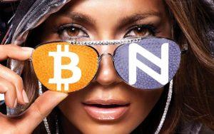 Dame met een cryptocurrency bril, crypto handelsbeurzen.