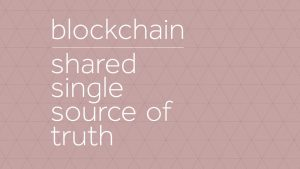 Blockchain, a shared single source of truth