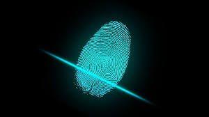 Scannen van de vingerafdruk, digitale identiteit.