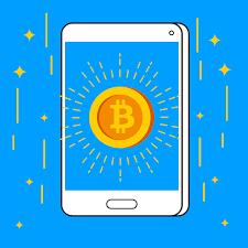 App voor een Bitcoin transactie, crypto handelsbeurzen.