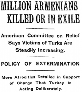 Artikel uit de New York Times in 1915 over de Armeense Genocide.