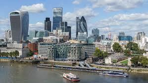 Banken. The City, het financiële district van Londen.