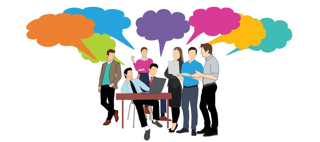 Groep mensen aan het praten. Een blockchain cursus zorgt ervoor dat u mee kunt praten over deze opkomende technologie.