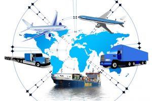Logistiek, vliegtuigen, vrachtwagens, tanker.