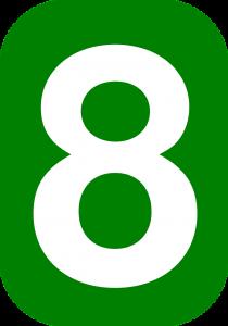 8, acht.