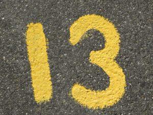 13, dertien.