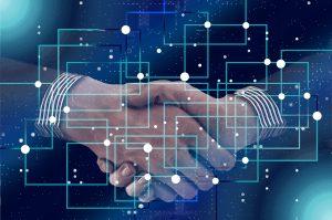 Blockchain en smart contracts, digitale overeenkomsten.