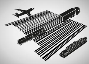 Goederentransport, bevoorradingsketen, vrachtwagen, schip, trein, vliegtuig.
