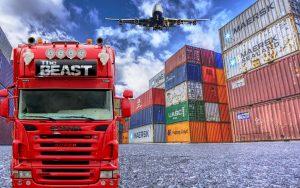 Logistiek, vrachtwagen, containers, vrachtvliegtuig.