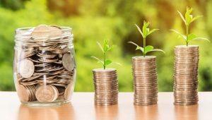 Finance, geld, plantjes, groei.
