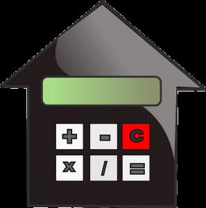 Huis, rekenmachine, financiële speelruimte, openingsbod, vastgoedsector.